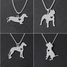 Hot Bulldog Puppy Charm Chain Dog Silver Shepherd Dachshund Pendant Necklace