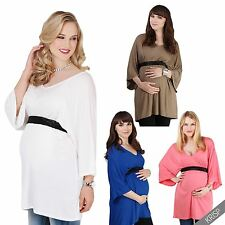 Maternity Womens V Neck Tunic Top Pregnancy Wear Loose Long Blouse T Shirt Tee