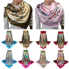 Women Girl Silk Satin Scarf Long Stole Square Large Bandana Wraps Shawl Kerchief