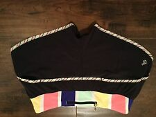 Euc Lululemon black seawheeze running shorts. Multi color Striped waistband sz 6