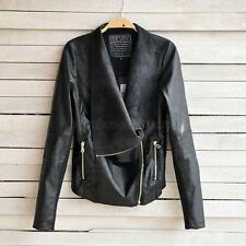 Sexy Women Slim PU Leather Long Sleeve Biker Motorcycle Coat Jacket Zip Up Tops