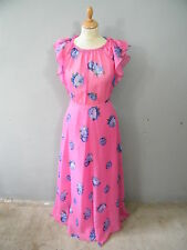 Vintage 70's pink dotty floral floaty maxi dress size 8 retro prom party hippy