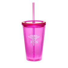 16oz Double Wall Acrylic Tumbler Pool Cup Mug With Straw RN Registered Nurse