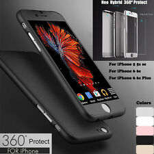 Ultra Thin 360 Full Hybrid Hard Case Cover+Tempered Glass Fr iPhone 7 5s 6S PLUS