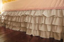 Best Quality Product Multi Ruffle Bed Skirt/Valance Drop 15 Inch Taupe Solid