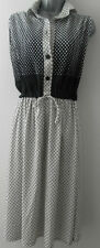 Vintage Retro 1970s Original 42 Dress Black White Multi Design Size 16