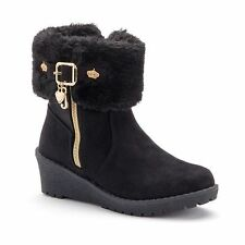 Juicy Couture Girls Sueden Boots, Black-Gold Heart-Crown & Charms, 12,3,4,5, NWB