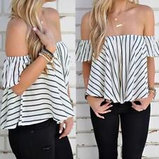 Sexy Women Striped Flared Sleeve Striped Blouse Shirt Off Shoulder Crop Top V6Y9