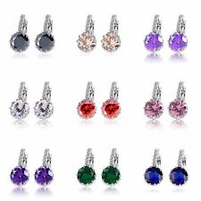 Cute earing Rainbow flower crystal womens silver gold filled hoop earing lot