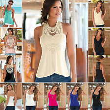 Fashion Summer Women's Lace Vest Top Sleeveless Casual Tank Blouse Tops T-Shirt