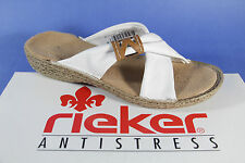 Rieker Mules, Leather, white/brown, soft inner sole leather new