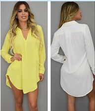 Top Chiffon T Shirt V-Neck Oversize Loose  Blouse Casual Long Sleeve
