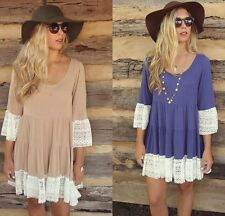 Women Sexy Lace Patchwork Pleated Dress Bell Trumpet sleeve Blouse Dress Newest