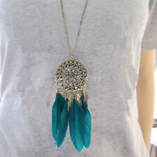 Vintage Bronze Plated Feather Leaf Tassel Pendant Long Chain Necklace Jewelry