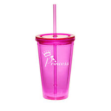 16oz Double Wall Acrylic Tumbler Mug Cup Straw Princess with Crown