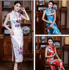 Traditional Chinese Silk Satin Women's Dress Cheong-sam Bridal Gown SZ S-2XL