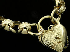 B005J- Genuine 9K 9ct Solid Gold HEAVY Day-Night BELCHER Heart PADLOCK Bracelet