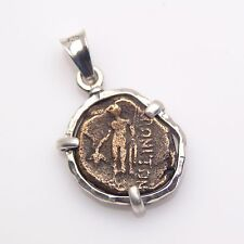 ancient coin pendant, sterling silver pendant with authentic ancient greek coin