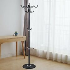 "70"" 15 Hooks Metal Clothes Coat Hat Stand Tree Holder Hanger Rack w/ Marble Base"