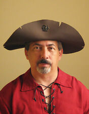 Medieval Celtic Renaissance SCA Larp Leather Pirate Hat wt Skull Old Style