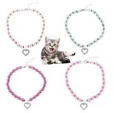 Pet Dog Cat Puppy Pearl Rhinestone Heart Pendant Necklace Jewelry Collar Necktie