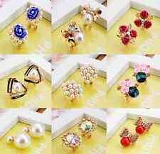 New Fashion Womens Lady Gold Plated Rhinestone Crystal Flower Ear Stud Earrings