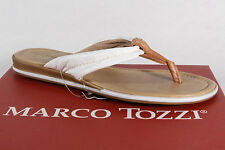 Marco Tozzi Toe thong Mules Mules Real leather white/brown new