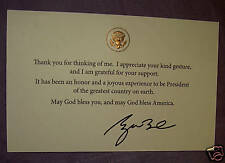 PRES GW BUSH GOD BLESS AMERICA GREAT COUNTRY THANK U CARD WHITE HOUSE SEAL EAGLE