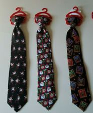 "Boys Christmas HO HO HO Brand Various Colors Designs Holiday 14"" Clip on Tie"