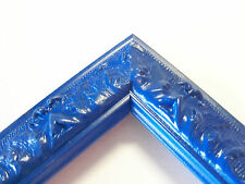 Small Regal Blue Victorian Wood Ornate Picture Frame-Custom Made Odd Size