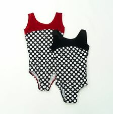 YOUTH GYMNASTIC LEOTARD BLACK & WHITE POLKA DOT W RED BLACK VELVET YOUTH SZ NWOT