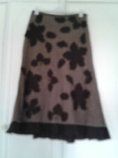PER UNA BROWN TWEED? LINEN MIX CALF LENGTH SKIRT SIZE 12R APPLIQUED FLOWERS