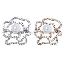 Hollow Cutout Plant Rose Flower Diamante Crystal Rhinestone Brooches Pins