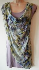 Womens Drape Dress Size 8 10 New Ladies Mauve multi c print Jersey & Chiffon NWT
