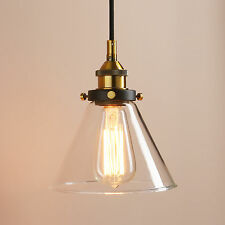 VINTAGE INDUSTRIAL GLASS FUNNEL CONE SHADE PENDANT LAMP LIGHT FIXTURE LIGHTING