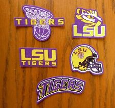 Iron On or Sew On Transfer Applique LSU Tigers Handmade Cotton Fabric Patch Set