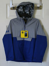 $79 NWT Boys Under Armour UA Reign Anorak Storm Jacket Water Resistant Gray Blue