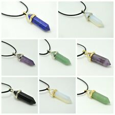 Amethyst Crystal Point Leather Rope Prism Healing Pendant Colour Stone Necklace