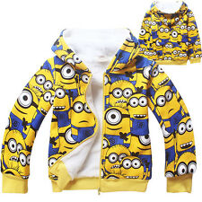 Cool Coat Full Despicable Me Kids Boys Girls Winter Thick Zipper Hoodies Jacket