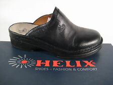 Helix Clogs Mules Slippers black Real Leather, Leather footbed