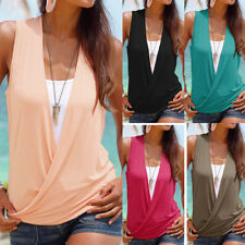 Womens Sexy V-Neck Sleeveless Shirts Pleated Slim Casual Beach Club Tank Blouse