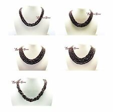 2/3/4/5 LINE MULTI UNTREATED NATURAL REAL GARNET GEMSTONE FACETED BEADS NECKLACE