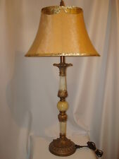Candlestick Table Lamp Ornate Resin offwht/gold embossed + finial Italian style