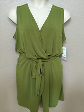 (NWT) NY Collection Women's Plus Size 2X Green Sleeveless Belted Romper LAST ONE