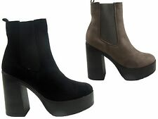 NEW LADIES CHELSEA ANKLE ELASTICATED CHUNKY PLATFORM HIGH HEEL SHOE BOOT