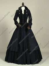 Black Victorian Gothic Steampunk Game of Thrones Coat Dress Theater Clothing 176