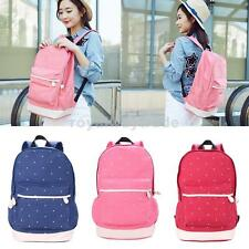 Dot Printed Casual Canvas Backpack Travel Rucksack School Bag for Girls Teen