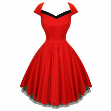 Hearts and Roses London Red Flared 50s Style Vintage Party Prom Dress