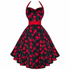 Hearts & Roses London Black Cherry Rockabilly Vintage 50s Flared Sun Dress UK