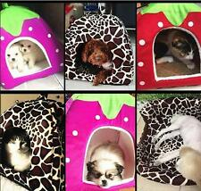 Soft Dog Cat Pet Warm Doggy Puppy House Kennel Strawberry Cushion Bed